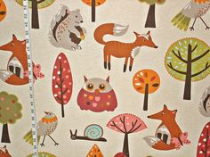Scandinavian animal fabric owl squirrel fox bird from Brick House Fabric: Novelty Fabric