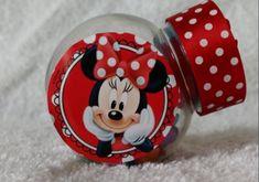 Mini Baleiro Personalizado Minnie. Lindo para decoração da mesa de aniversário, lembrancinha. Pode ser colocado chocolate ou bala de goma. *consultar preço para produto com chocolate/bala.