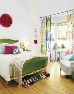 Bohemian bedroom. And those CURTAINS. Tie or perhaps sew silk/sheer scarfs together. Hardly any shade but damn are they cute.