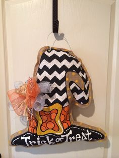 Trick or Treat Witch's hat burlee hanger