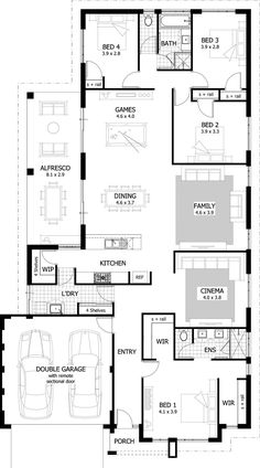 Portman Floor Plan - Featuring a spacious open plan living area with activity room, large undercover alfresco area and stylish kitchen with convenient servery window, the Portman is a home for those who love to entertain. Bungalow Floor Plans, Home Design Floor Plans, Apartment Floor Plans, House Floor Plans, Small Floor Plans, 4 Bedroom House Plans, New House Plans, Dream House Plans, Home Library Rooms
