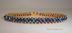 Tennis Bracelet  Gold with Purple Velvet 2x by SturdyGirlDesigns