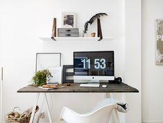 white + wood desk