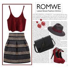 """Romwe Black High Waist Skirt"" by teez-biz-nez ❤ liked on Polyvore featuring Maison Michel"