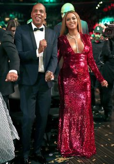 Beyonce Knowles Photos Photos - Music artists Jay Z and Beyoncé during The 59th GRAMMY Awards at STAPLES Center on February 12, 2017 in Los Angeles, California. - The 59th GRAMMY Awards -  Roaming Show