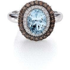 Le Vian Sea Blue Aquamarine™ And Chocolate Diamond® Ring In 14 Kt.... ❤ liked on Polyvore