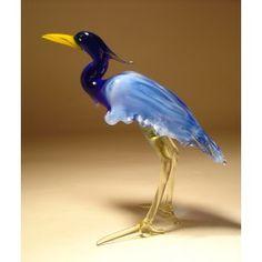 Glass Blue Neck Heron $25.95 http://www.glasslilies.com/110-glass-blue-neck-heron.html #Blue #Glass #Neck #Heron #Bird #GlassArt #Figurine #Gifts #Bird #BlownGlass