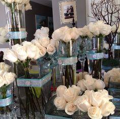 White rose centerpieces