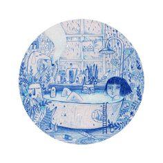 Bain bleu A4 impression rond cercle illustration par SurfingSloth