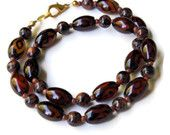 "Short Natural Semiprecious Eye Agate Necklace - Brown Gold Choker - Formal Semiprecious Stones Jewelry - Handmade OOAK Unique - Natural, 17"""