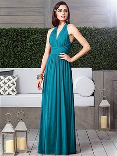 I really didn't want long dresses but I am finding them so pretty. This is in oasis color - Dessy Collection Style 2908: The Dessy Group