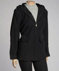 3724add40a2 Take a look at this Black Wool-Blend Hooded Jacket - Plus by Fleet Street