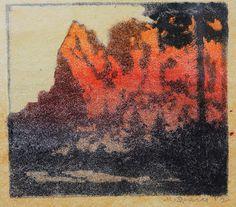 ✨ Max Sparer, Austrian-Italian (South Tyrolian) (1886-1968) - Schlern im Abendrot, Farb-Holzschnitt, 19 x 22 cm ::: Schlern, Dolomites sunset, afterglow, colour woodcut