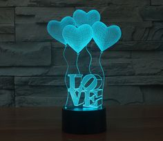 LEDMOMO Optical Illusion LED Lamp Love Model Night Light LED Desk Table Lamp 7 Color Change (Four Love Heart) -- Continue to the product at the image link. (This is an affiliate link) Plexiglas Led, Ballon Led, Illusion 3d, Lampe Tactile, Decoration Birthday, Lampe 3d, 3d Optical Illusions, Love Balloon, Balloon Gift