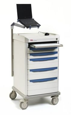 """JUST GRAB YOUR LAPTOP, select a drawer pull color and you are ready to go with Metro's Starsys Computer-Ready Bedside Cart.  Standing 42"""" (1067mm) high with a full-extension keyboard tray and an articulating laptop arm, this cart features plenty of locked drawer storage below an open work surface."""