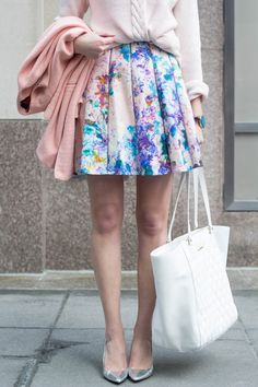 Spring outfit: floral dress as skirt, blush sweater, light pink coat, white bag, silver pumps