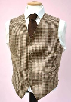 "Vintage 50s Houndstooth Wool Tweed Waistcoat • 4 Pockets • 40"" – Top Notch Vintage"