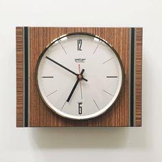 Mid century Modern Minimalist Wall clock by Peter German Teak Wood Wall Clock Price, Wall Clock Brands, Modern Wall, Mid-century Modern, Minimalist Wall Clocks, Small Bathroom Tiles, Modern Shelving, Wall Lantern, Baskets On Wall