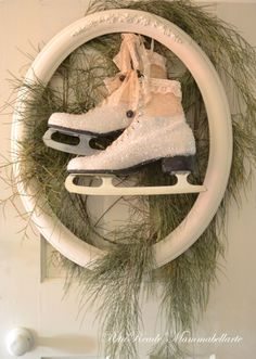 Vintage Ice Skates, glitter, rhinestones, solder charms, lace. Coming to the Vintage Marketplace at the Oaks Dec. 2013