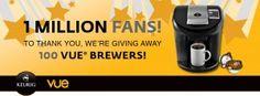 Win 1 of 100 Keurig Vue V600 Brewers – $189.99 Value