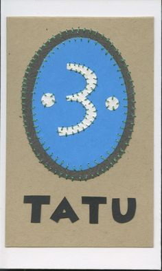 tatu (three)... swahili flashcards 4x6 inches hand-cut and sewn paper collage
