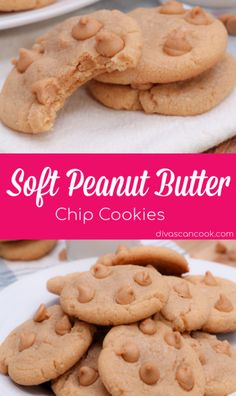 *TRIES & TRUE* Soft-batch Peanut Butter Cookies Recipe! Loaded with peanut butter morsels and creamy peanut butter. Simple ingredients for chewy cookies. Homemade Peanut Butter Cookies, Making Peanut Butter, Best Peanut Butter, Peanut Butter Chips, Chip Cookie Recipe, Easy Cookie Recipes, Baking Recipes, Baking Ideas, Peter Pan Peanut Butter