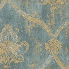 Wallpaper French Faux Aqua Blue Large Damask with Gold:Amazon:Home Improvement
