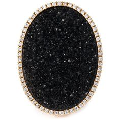 Karolin Druzy Oval Diamond Cocktail Ring (93 250 UAH) ❤ liked on Polyvore featuring jewelry, rings, metallic, pave diamond ring, fine jewelry, diamond jewellery, black and gold ring and statement diamond rings