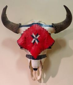 Third Phase Chief's Blanket Design painted on a Buffalo Skull.