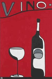 Vino __[www.countryslowliving.com] Abstract Wine Bottle & glass Art #cRed #cGreys