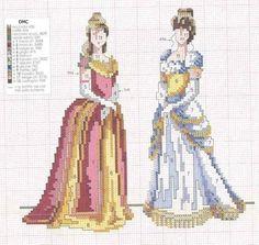 x point de croix femmes robes - cross stitch ladies dresses vintage