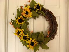 Wreath Tuscan Sunflower Kitchen Decor by FrenchHollowFarm on Etsy, $52.00