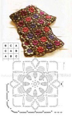 Crochet flower scarf chart.
