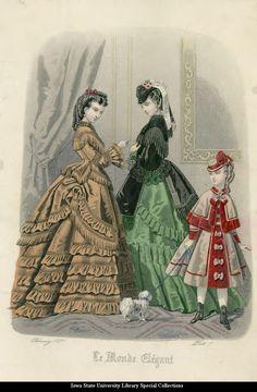 Day dresses, 1871, Le Monde Elegant