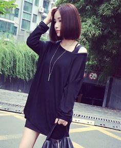 The new 2014 pure color thin knit sweater head set loose casual and comfortable joker female long