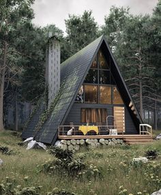 Architecture House Tiny Homes Modern Cabin with A-Frame in the Wood! Tiny House Cabin, Cabin Homes, Tiny Homes, Cabins In The Woods, House In The Woods, A Frame Cabin, A Frame House Plans, Forest House, Forest Cabin