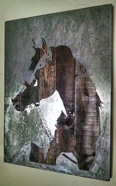 Cuarto caballo semental Arte Metal madera por LegendaryFineArt