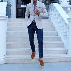 """Monday classics  cream cashmere blazer x navy overcheck trousers x tan suede tassel loafers. #menstyle #mensshoes #gentlemanstyle"" Photo taken by @louisnicolasdarbon on Instagram, pinned via the InstaPin iOS App! http://www.instapinapp.com (09/21/2015)"