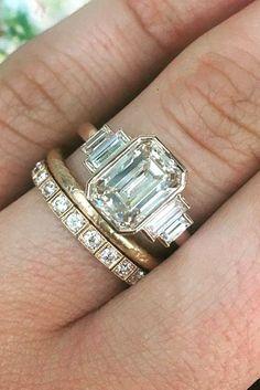 Eye-Catching Emerald Cut Engagement Rings ❤ See more: http://www.weddingforward.com/emerald-cut-engagement-rings/ #weddings