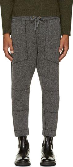 Robert Geller: Gray Wool Knit Richard Lounge Pants   SSENSE