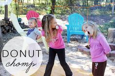 the donut chomp: a great alternative to bobbing for apples for little ones! a fun party game everyone is sure to love!