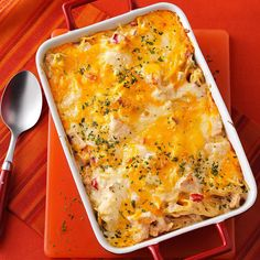 Chicken & Cheese Noodle Bake Recipe -This is the recipe my daughters and I often make for new parents when they come home from the hospital. With its creamy spaghetti filling and melted cheese topping, this casserole holds a nice cut and comforts hungry tummies. —Fancheon Resler, Bluffton, Indiana