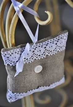Lavender sachet with burlap and lace. Love the button in the center. Lavender Bags, Lavender Sachets, Sachet Bags, Scented Sachets, Linens And More, Burlap Crafts, Lace Doilies, Hessian, Wedding Favours
