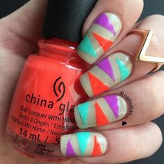 Edgy neon triangle nails by @nailicious__ using 'That's Shore Bright' and 'Red-y To Rave'