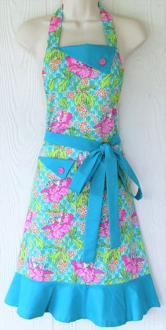 Hibiscus Floral Apron Pink and Teal Floral Full Apron Retro