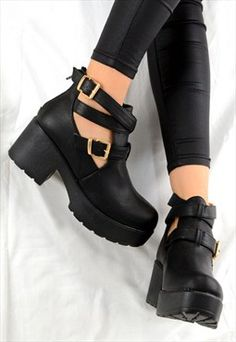 ANNA Chunky Heel Cut Out Buckle Biker Chelsea Ankle Boots