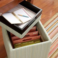 This works great for people like me where your living room is your office! keeps those messy papers in order and hidden with out ugly filing cabinets. Tah-Da