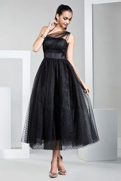 A-Line/Princess One Shoulder Tea-length Tulle Prom Dress Affordable Bridesmaid Dresses, Bridesmaid Dresses Online, Prom Dresses 2016, Mob Dresses, Evening Dresses, Fashion Dresses, Formal Dresses, Party Dresses, Tulle Prom Dress