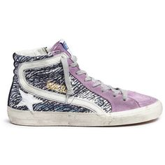 Golden Goose 'Slide' laminated suede high top sneakers ($565) ❤ liked on Polyvore featuring shoes, sneakers, golden goose high tops, purple high tops, zip sneakers, high top trainers and purple hi tops