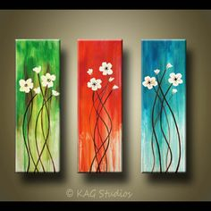 Abstract Flower Painting 36 x 36 inches by KAG by kagstudios